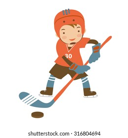 Little hockey player character illustration in vector format