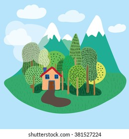 Little house in forest with mountains cartoon illustration vector