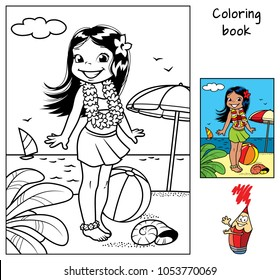 Little hula girl at the beach wearing a Hawaiian garland. Coloring book. Cartoon vector illustration