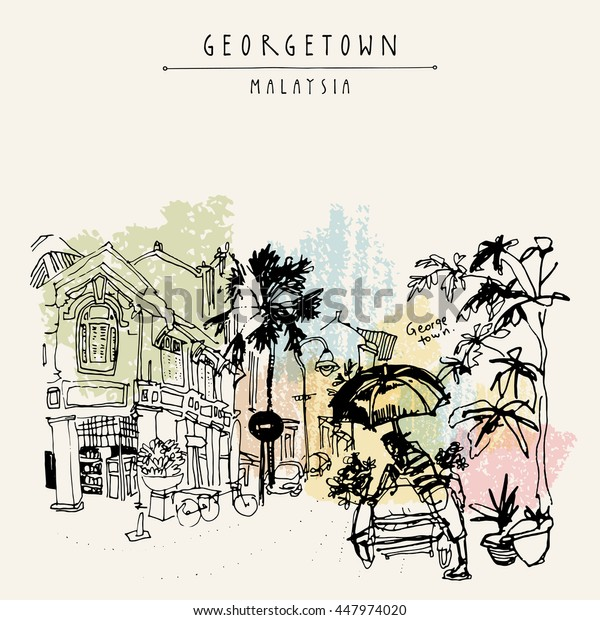 Little India district in Georgetown, Penang, Malaysia, Southeast Asia. Bicycle rickshaw with umbrella, historic buildings. Hand drawing. Travel sketch. Book illustration, postcard or poster in vector