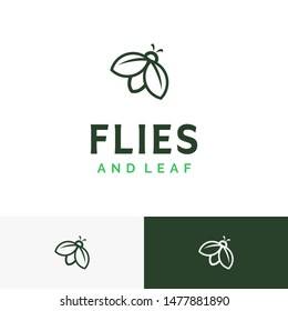 Little Insect Flies or Fireflies with Leaf Wing logo design