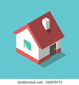 Little isometric house with shadow on turquoise blue background. Real estate, rent and home concept. EPS 8 vector illustration, no transparency