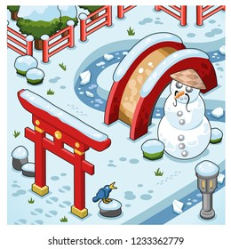 Little Japanese garden in wintertime with snowman, snow on bridge, lantern, shrubs and torii (isometric view)