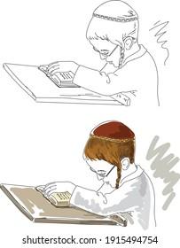 Little jewish hasidic boy study. Vector illustration.