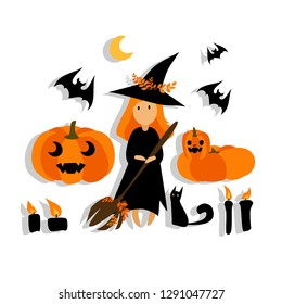 A little kawaii red-haired witch in a black dress, a hat with a broom and a black cat, bat and pumpkin. Vector set. Decorative illustration, good for printing. Great for label, print, pack