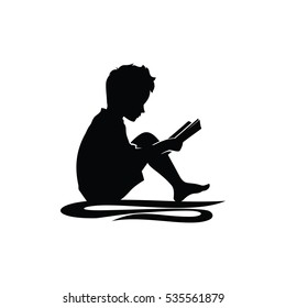 Little Kid Boy Study Reading Book Silhouette Illustration