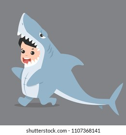 Little Kid Characters In Shark Costume