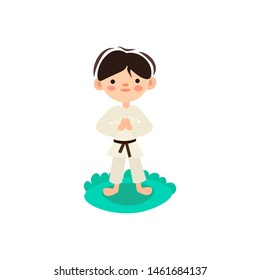 Little kid, child preparing for karate training. Boy doing martial fight exercise on green grass. Isolated vector cartoon illustration with boy in kimono, doing jujitsu defence