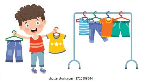 Little Kid And Colorful Clothes