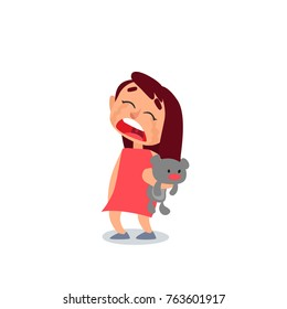 Little Kid Crying And Hugs The Bear    Toy. Cartoon Style Vector Illustration