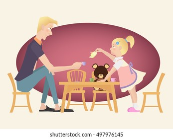 Little kid girl playing tea party with her father