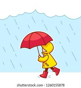 Little kid with raincoat, rain boots and umbrella running under rain. Cute cartoon vector illustration.