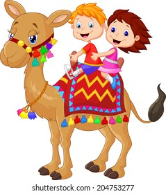 Little kid riding decorated camel
