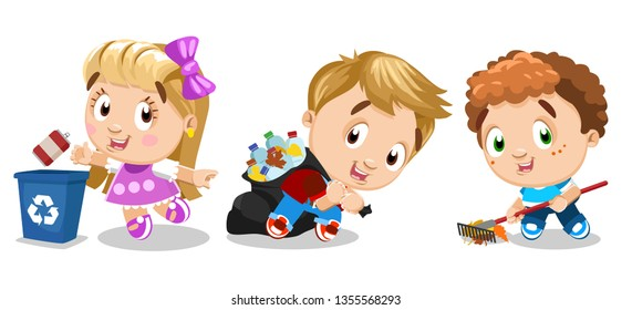 Little kids clean place. Girl and boys collect bottles and other rubbish into garbage bag, throw empty can into blue container, remove leaves with rake. Cartoon stock vector set isolated on white.