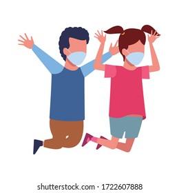 little kids couple using face masks for covid19 vector illustration design