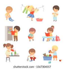 Little Kids Doing Things on Their Own Vector Illustrations Set