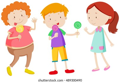 Little kids eating lollipops illustration
