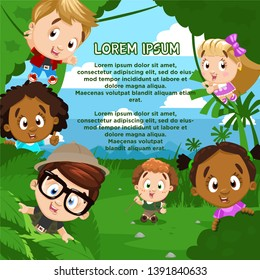 Little kids emerge from behind big green plants. Boy and girl scouts walking in forest, jungle. Young naturalist, biologist, discoverer. Cartoon vector illustration. Place for text.