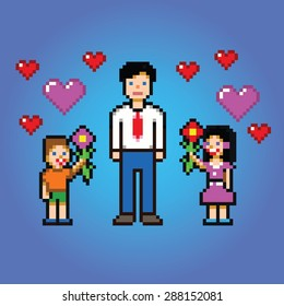 little kids gives daddy flowers - pixel art style vector illustration