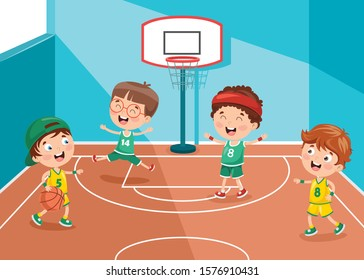 Little Kids Playing Basketball At Sport Hall