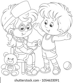 Little kids playing doctor and patient. Friendly smiling girl with a toy stethoscope listening a belly of a boy, black and white vector illustration for a coloring book