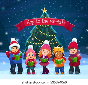 Little kids singing Christmas caroling with pine tree on bakcground vector illustration