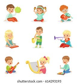 Little kids sitting and playing musical instrument, set for label design . Cartoon detailed colorful Illustrations