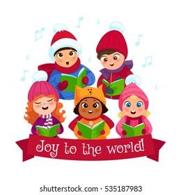 Little kids in winter clothing singing Christmas caroling flat composition vector illustration