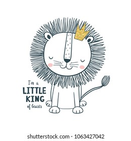 Little king. Vector illustration for kids. Use for t shirt template, surface design, fashion kids wear, baby shower