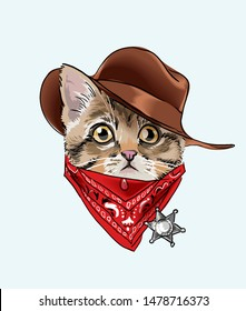 little kitten in cowboy costume illustration