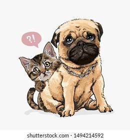 little kitten hiding behind pug dog illustration