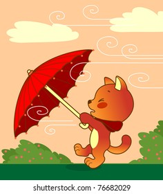 Little kitten holding in paws open umbrella and running. Umbrella wind carries away.
