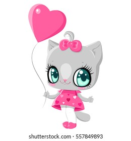 Little kitten with a pink balloon in the shape of a heart. Children character