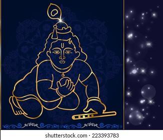 Little Krishna with flute,hindu god krishna artwork vector eps-10
