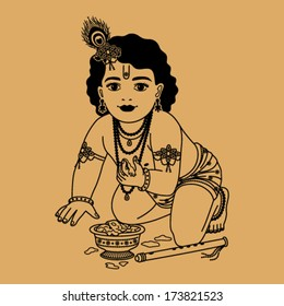 Little Krishna with a plate of porridge and a pipe on a beige background