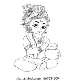 Little Krishna with a pot of butter. Happy Janmashtami. Coloring page
