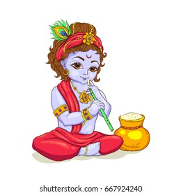 Little Krishna with a pot of butter. Happy Janmashtami
