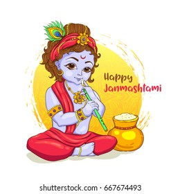 Little Krishna with a pot of butter on ornament background. Happy Janmashtami greeting card