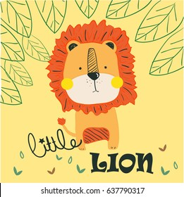 little lion illustration vector for print