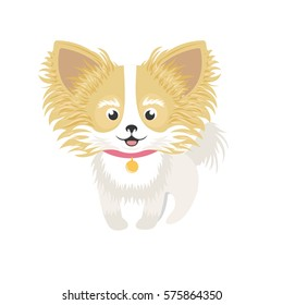 Little Long hair chihuahua character illustration