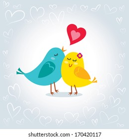 Little love birds. Vector  illustration of little love birds. Happy Valentine's day!
