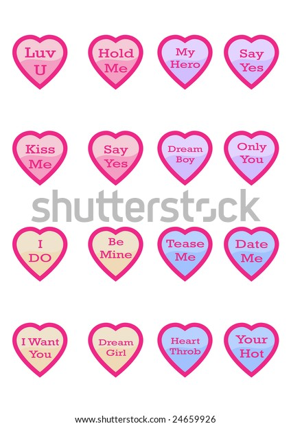Little Love Hearts Romantic Messages On Stock Vector (Royalty Free