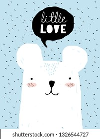 Little Love-Funny Baby Shower Vector Illustration. Simple Sweet Nursery Art.White Teddy Bear and Black Bubble Speech Isolated on a Blue Background. Lovely Room Decoration for Baby Boy. Cute Polar Bear