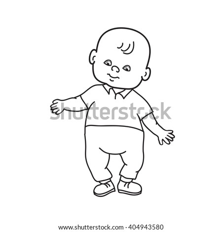 little lovely baby boy standing drawing stock vector royalty free