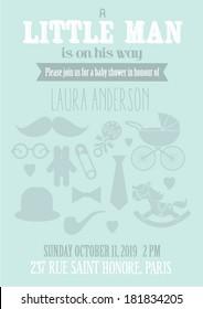 little man baby shower invitation card template vector/illustration