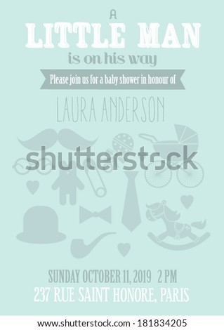 Little Man Baby Shower Invitation Card Stock Vector Royalty Free