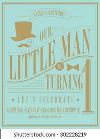 little man birthday invitation card template vector/illustration