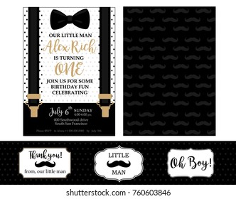 Little man birthday party ( Baby shower party) invitation card.  Vector bow tie and suspenders. Black, white and gold - classic patterns with mustache. Design for real man! Father day's template