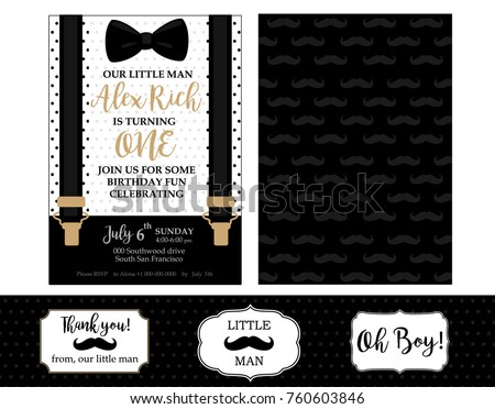 Little Man Birthday Party Baby Shower Invitation Card Vector Bow Tie And Suspenders Black White Gold