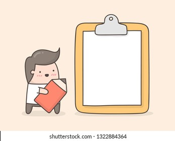 Little man with blank paper on clipboard. Cute doodle illustration.